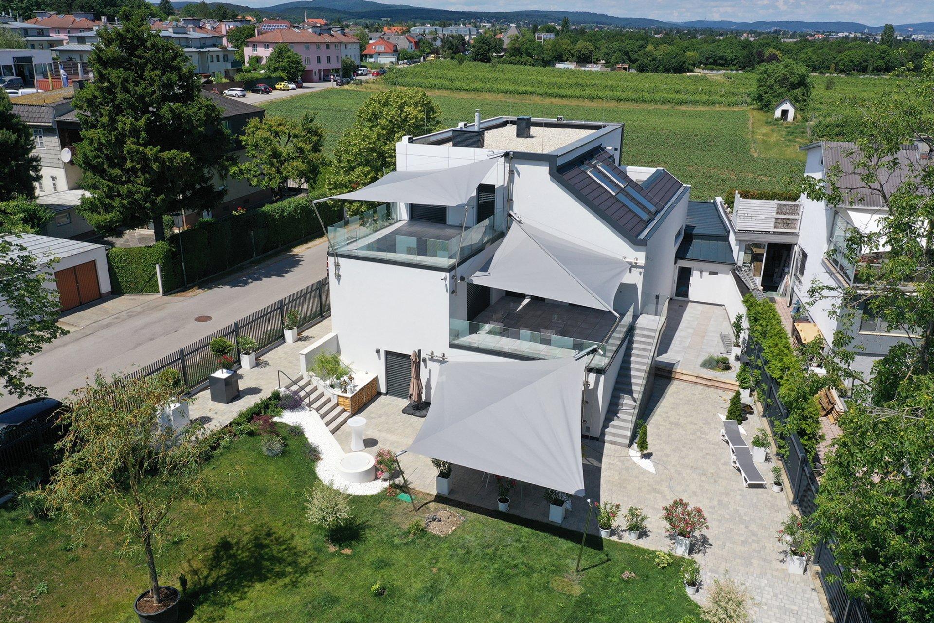 SunSquare Sonnensegel Mehrfachanlagen Dreieck: Privat Haus M